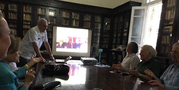 Miembros de Ocean Elders visitan la Academia de Ciencias de Cuba. Foto: @QueenNoor.