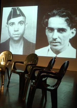 En la pantalla, Miguel Hernández (izquierda) y Pablo de la Torriente Brau. Foto: La Jiribilla