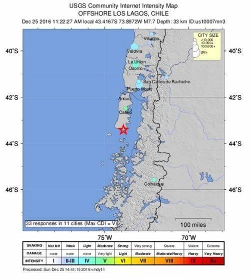 Lugar del epicentro del terremoto. Fuente: EFE.