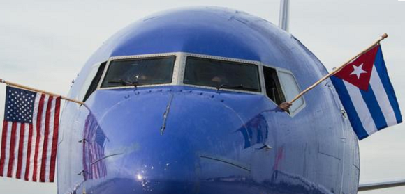 Así fue la llegada del vuelo inaugural de Southwest Airlines a La Habana. Foto: Marcelino Vázquez/ ACN