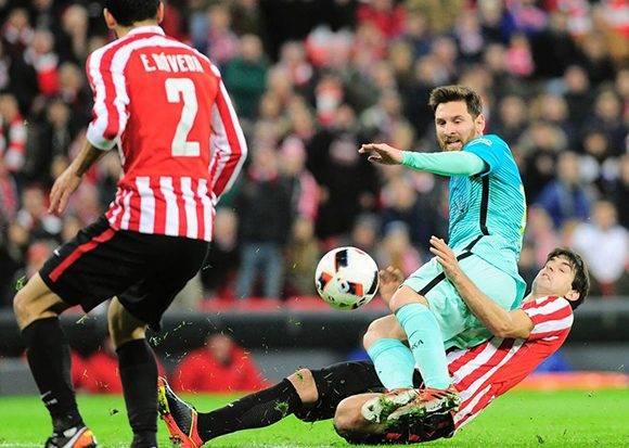 Lionel Messi anotó el descuento para el Barça. Foto: Ander Guillenea/ AFP.