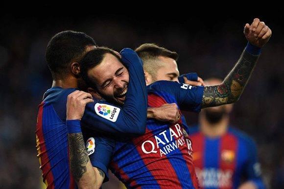 Aleix Vidal celebra su gol. Foto: AFP.