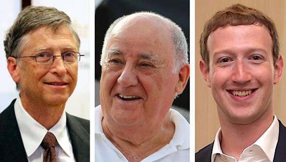 Bill Gates, Amancio Ortega y Mark Zuckemberg, tres de los ocho hombres más ricos del mundo. Foto tomada de AS.