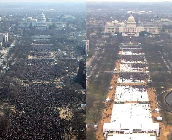 Comparación del día en que tomó posesión Obama (izq) y hoy.
