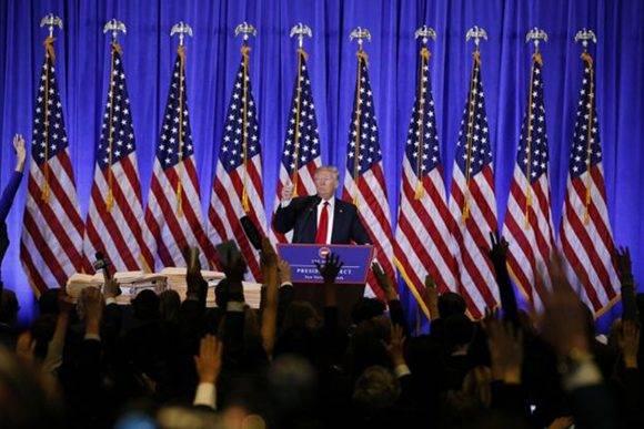 La conferencia tuvo lugar en al lobby de la Torre Trump en Nueva York. Foto: Reuters.
