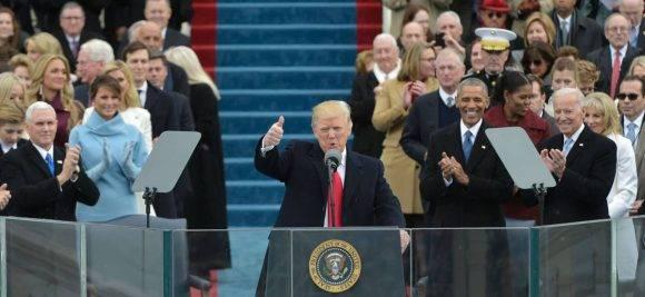 Donald Trump en su discurso de investidura. Foto: AFP.