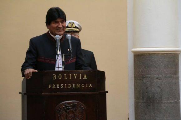 Evo Morales en la juramentación de hoy. Foto: @Canal_BoliviaTV.