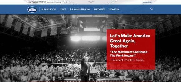 La página web de la Casa Blanca cambia su portada ante el nuevo nombramiento.