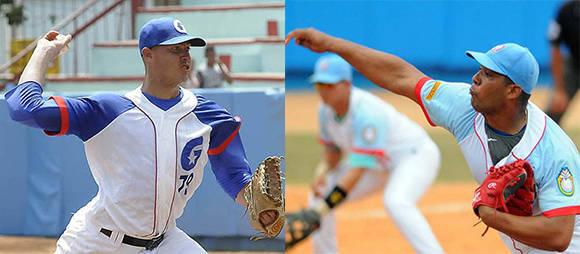 Lázaro Blanco (Granma) y Vladimir García (Ciego de Ávila), los ases de ambos equipos que se enfrentarán en la final de la 56 Serie Nacional de Béisbol.