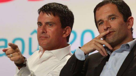 Manuel Valls y Benoit Hamon. Foto tomada de Dreuz.info.
