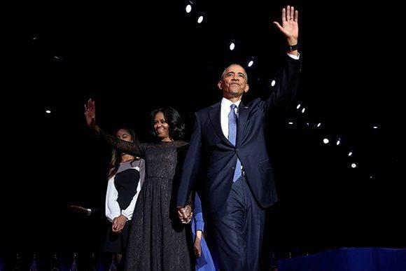 Barack y Michelle Obama se despiden en Chicago como presidente y primera dama. Foto: Jonathan Ernst/ Atlas.