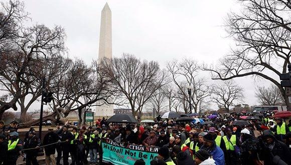 Protesta contra Trump en Washington. Foto tomada de Twitter.