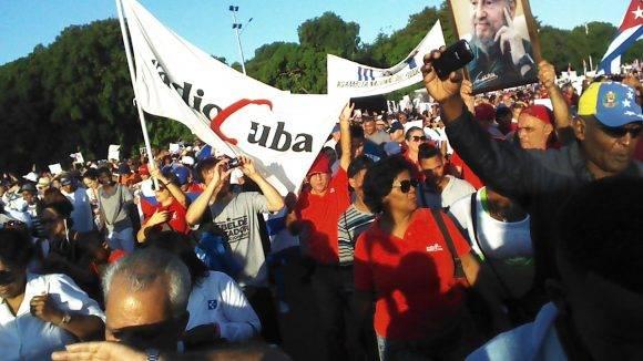 Trabajadores de RadioCuba en el desfile del 2 de enero en La Habana, Foto: Heydi / Cubadebate