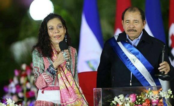 Rosario Murillo y Daniel Ortega enviaron un mensaje al XV Consejo Político ALBA-TCP. Foto: Archivo.