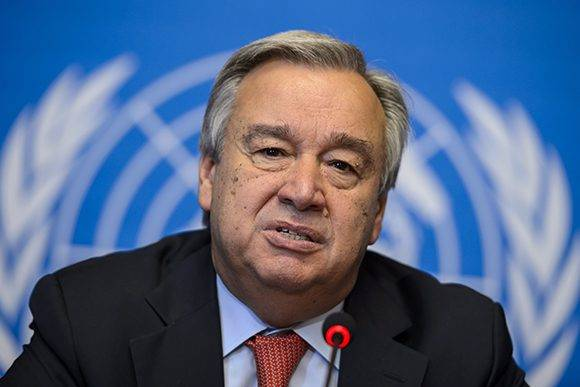 United Nations High Commissioner for Refugees (UNHCR) Antonio Guterres attends a press conference following the UNHCRs annual Executive Committee meeting on October 3, 2014 at the United Nations Office at Geneva. AFP PHOTO / FABRICE COFFRINI (Photo credit should read FABRICE COFFRINI/AFP/Getty Images)