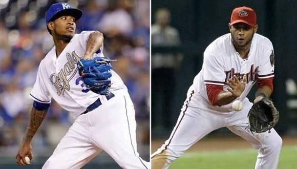 Peloteros Yordano Ventura y Andy Marte, fallecidos en accidentes de tránsito este domingo. Foto: CBC.