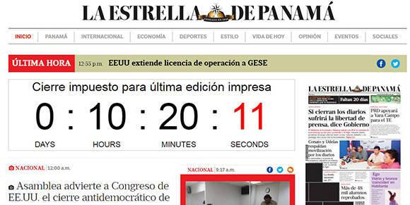 En el portal electrónico del diario panameño hay un contador para la última publicación que harán en la versión impresa. Foto: Captura de pantalla.