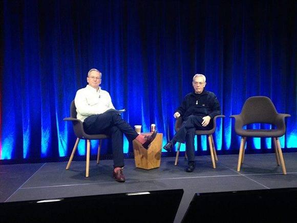 Eusebio Leal con Eric Schmidt, presidente de Google, en el evento de Nueva York