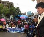 El presidente boliviano, Evo Morales, durante la entrega de un centro de rehabilitación para personas con discapacidad, en Punata, Bolivia. Foto: Xinhua.