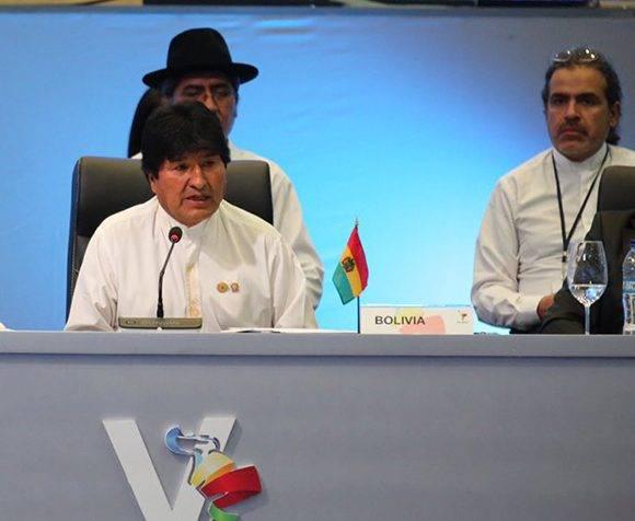 Evo Morales interviene en la V Cumbre de la Celac. Foto: @PresidenciaRD/ Twitter.