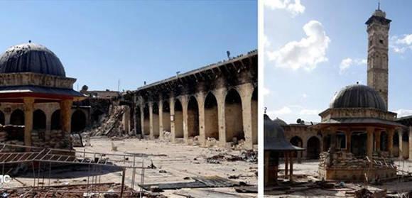 La Gran Mezquita Olmeya de Alepo, con y sin minarete, antes y después de un bombardeo en 2013 Foto: AP/ AMC.