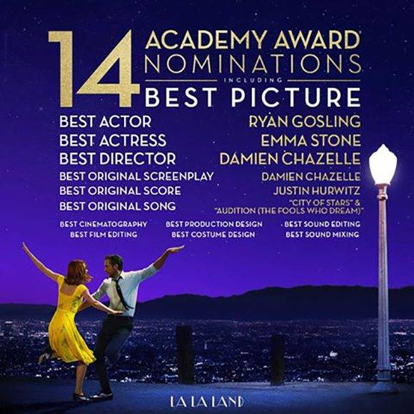 """Infografía sobre las nominaciones de """"La La Land"""" a los Oscar. Imagen tomada de la página oficial de la película en Facebook."""