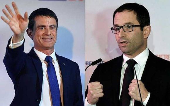 Manuel Valls y Benoit Hamon. Foto: AFP.