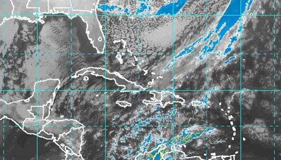 Imagen del satélite de este lunes 9 de enero a las 8:40 am. Foto: NOAA/ INSMET.