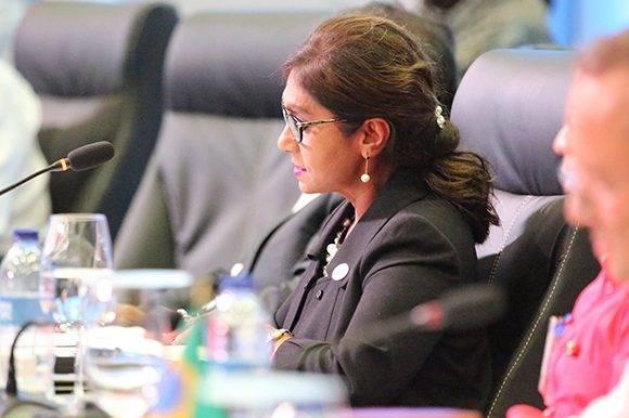 Niermala Badrising, ministra de Relaciones Exteriores de Surinam en la V Cumbre de la Celac. Foto: @PresidenciaRD/ Twitter.