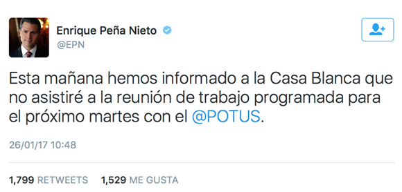 Peña Nieto no viajará a Washington: Suspendido encuentro con Trump
