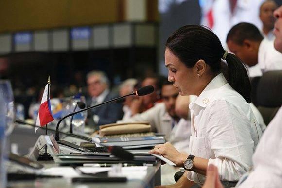 """""""Es vital estrechar los lazos de cooperación y compartir experiencias que nos permitan realizar gestiones transparentes"""", dijo la vicepresidenta de Panamá. Foto: @CancilleriaPma/ Twitter."""