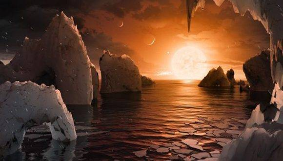 Esta ilustración de la NASA muestra cómo se vería uno de estos planetas, de una densidad y tamaño similar a la Tierra.