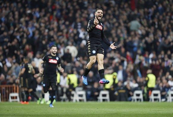 Lorenzo Insigne puso al Napoli delante en el Santiago Bernabéu. Foto: Luis Sevillano/ El País.