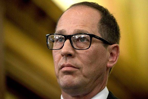 Pennsylvania Senate President Pro Tempore Joe Scarnati, R-Jefferson County, waits to speaks to members of the media after Gov. Tom Wolf delivered his budget address for the 2015-16 fiscal year to a joint session of the Pennsylvania House and Senate on Tuesday, March 3, 2015, in Harrisburg, Pa. (AP Photo/Matt Rourke)