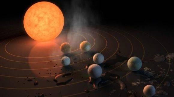 La estrella alrededor de la cual orbitan los siete planetas tiene una luz 2.000 veces más tenue que la de nuestro Sol. Foto: NASA.