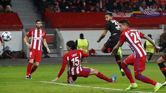 Football Soccer - Bayer Leverkusen v Atletico Madrid - UEFA Champions League Round of 16 First Leg - BayArena, Leverkusen, Germany - 21/2/17 Bayer Leverkusen's Karim Bellarabi scores their first goal  Reuters / Wolfgang Rattay Livepic