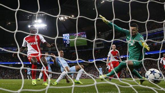 Britain Football Soccer - Manchester City v AS Monaco - UEFA Champions League Round of 16 First Leg - Etihad Stadium, Manchester, England - 21/2/17 Manchester City's Raheem Sterling scores their first goal  Action Images via Reuters / Lee Smith Livepic