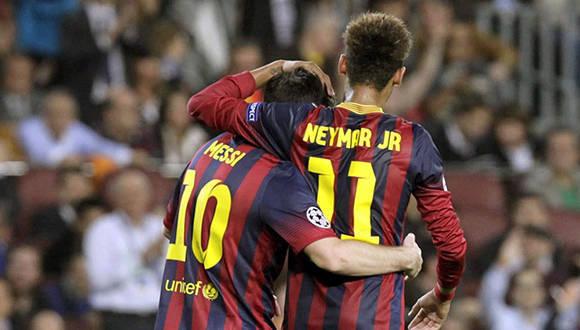 Messi y Neymar. Foto tomada de Futbolargentino.com.