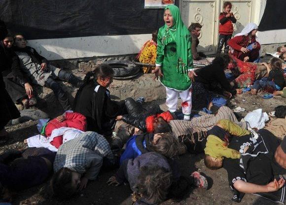 Ataque que provocó la muerte de varios infantes en Afganistán. Foto tomada de Taringa.