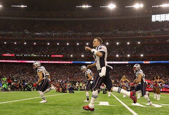 HOUSTON, TX - FEBRUARY 05: Tom Brady #12 of the New England Patriots takes the field prior to Super Bowl 51 against the Atlanta Falcons  at NRG Stadium on February 5, 2017 in Houston, Texas.  (Photo by Ronald Martinez/Getty Images)