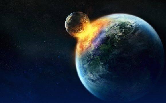 Recreación digital sobre lo que pasaría si la Tierra y la Luna chocaran. Foto tomada de Tiempo.