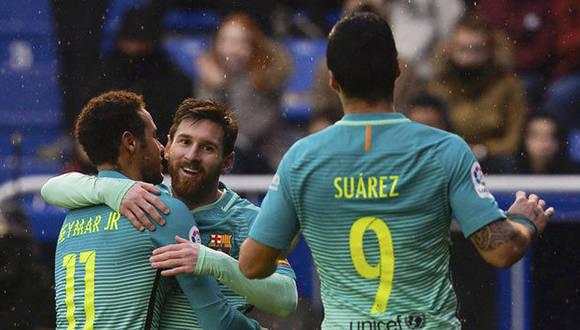 La MSN: Messi, Suárez y Neymar fue letal ante el conjunto de Vitoria. Foto tomada de Marca.