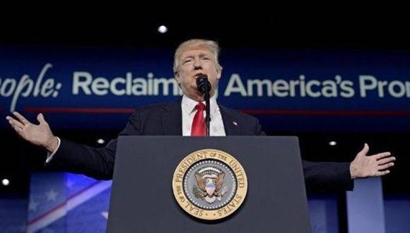 Donald Trump en su alocución ante los republicanos. Foto: EFE.