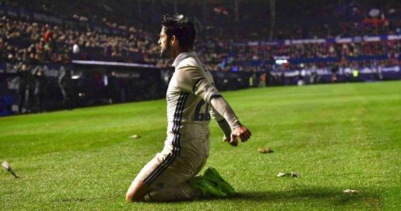 Isco celebra el gol de la victoria ante el Osasuna. Foto: AP.