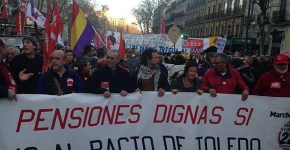 Cabecera de la manifestación en Madrid. Foto: Público.