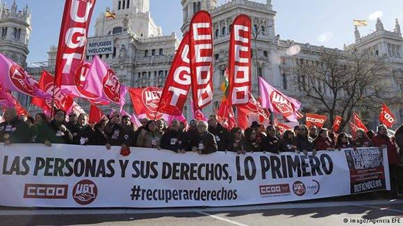 Marchas de la Dignidad en toda España. Foto: EFE.