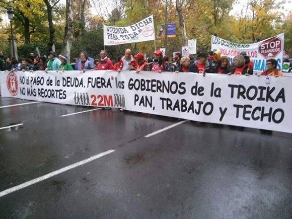 Pancarta en una de las Marchas de la Dignidad. Foto tomada de 20minutos.es