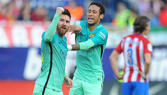 Messi y Neymar celebran el gol de la victoria ante el Atlético de Madrid. Foto: Denis Doyle/ Getty.