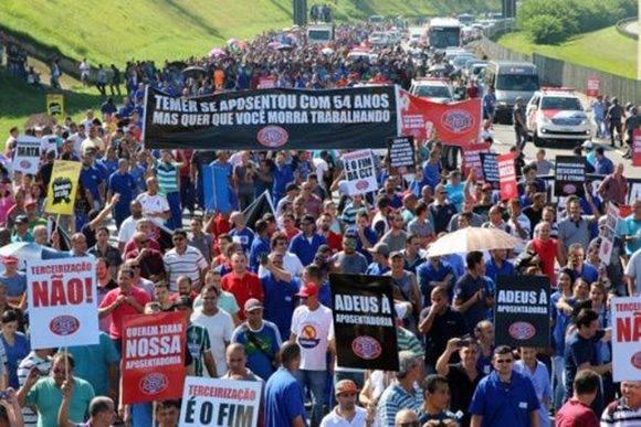 Brasil se moviliza en protesta contra reformas del gobierno interino de Michel Temer. Foto: Adonis Guerra.