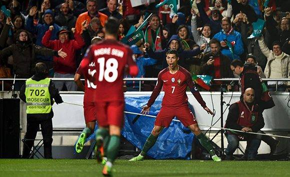 Cristiano ha marcado todo tipo de goles en esta fase de clasificación y es el cuarto europeo con más tantos con la selección de la historia. Foto: Melo Moreira/ AFP.